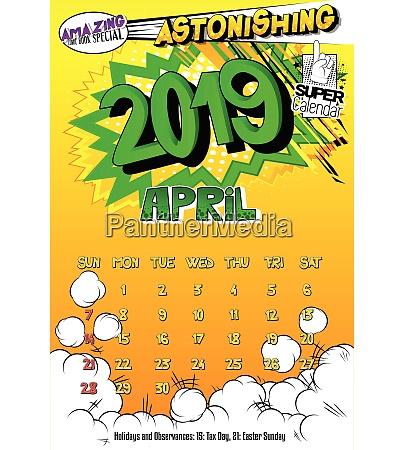 calendar template for 2019 april