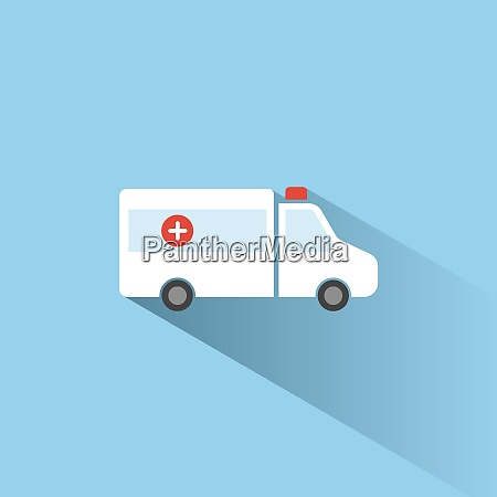 ambulance color icon with shadow on