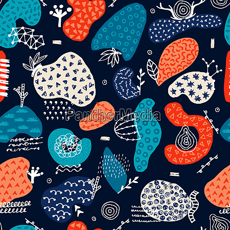 vector seamless pattern with hand drawn