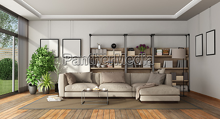 modern living room with bookcase and
