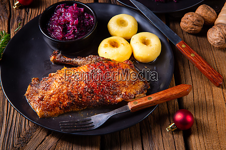 classic and crispy roasted duck with