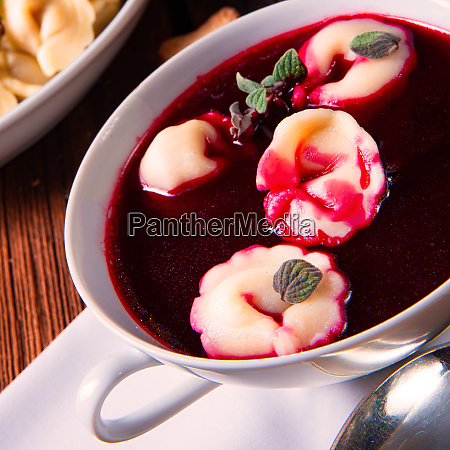 christmas beetroot soup borscht with small