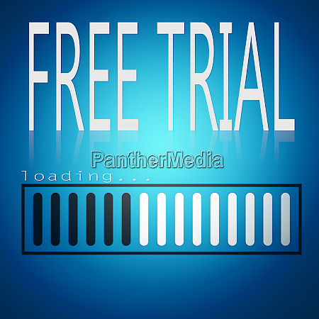 free trial word with blue loading