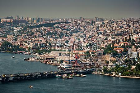 birds eye view of istanbul golden