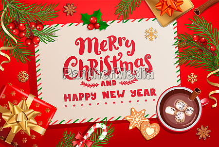 merry christmas new year card for