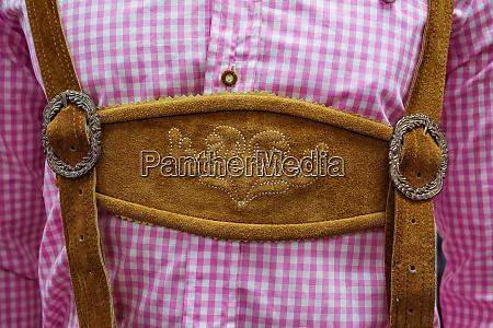 traditional german lederhosen center chestpiece closeup