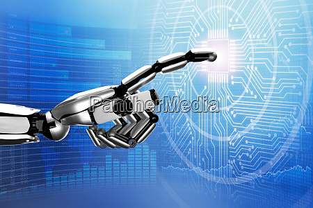 robot touching digital circuit board