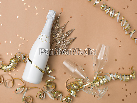 new year background with bottle of