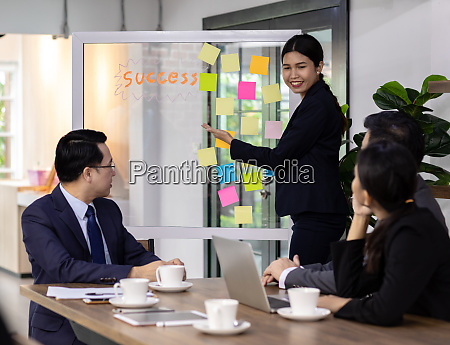 business team have a meeting in