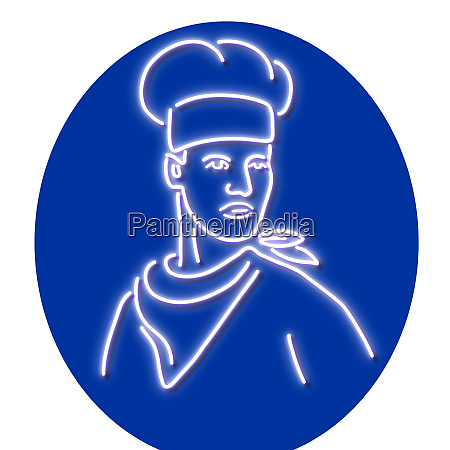 chef looking to side glowing neon