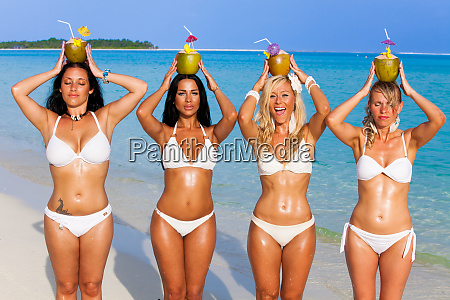 girl group on the beach in