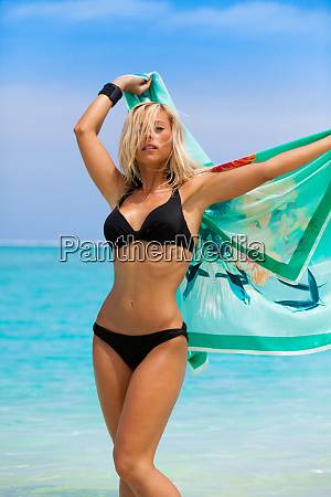 blonde girl with black bikini in