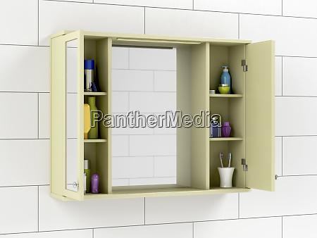 mirror cabinet in the bathroom