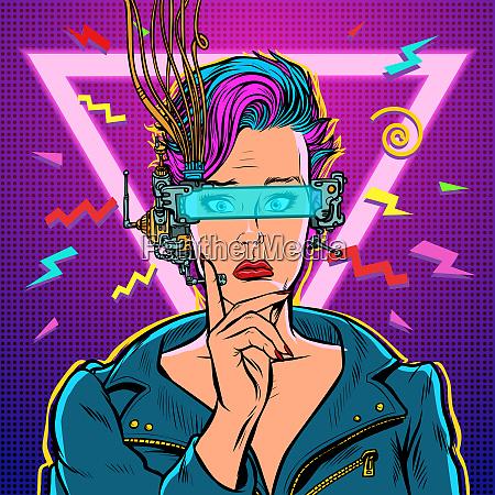 thinker vr glasses woman gamer virtual