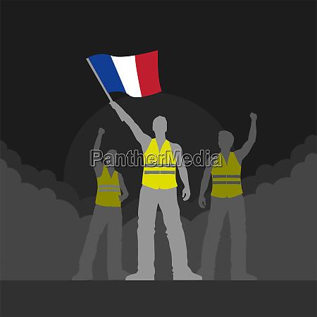 vector yellow vest protestors illustration