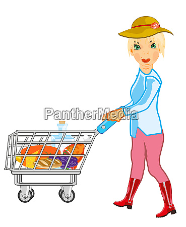 girl in shop rolls pushcart with
