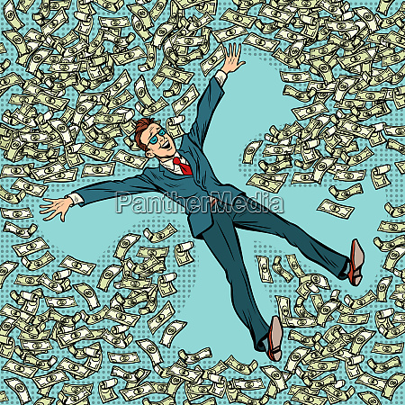 businessman making snow angel money dollars