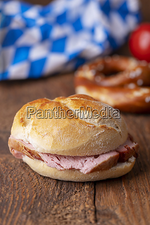 closeup of a bavarian leberkaese bun
