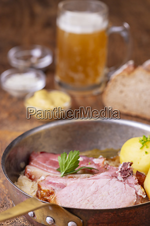 closeup of a french choucroute dish