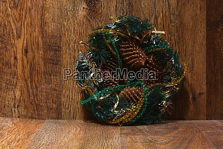 christmas wreath on the wood door