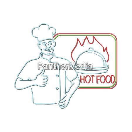 chef thumbs up hot food neon