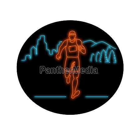 marathon runner running oval neon sign