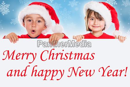 merry christmas children kids card santa