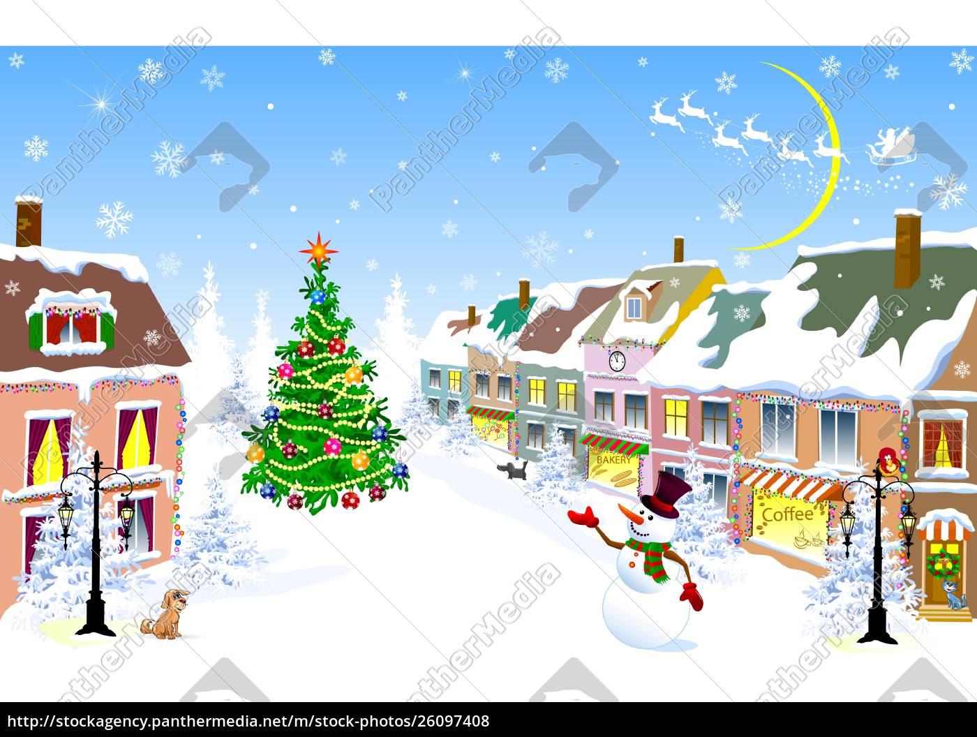 city, , christmas, , winter, , snowman, , christmas, night - 26097408