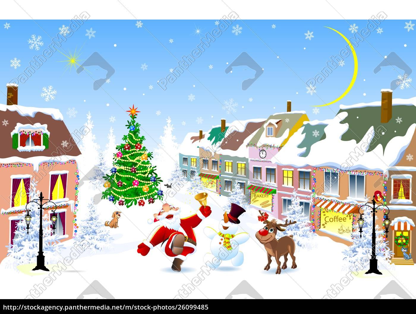city, , santa, , deer, , snowman, , christmas, night - 26099485