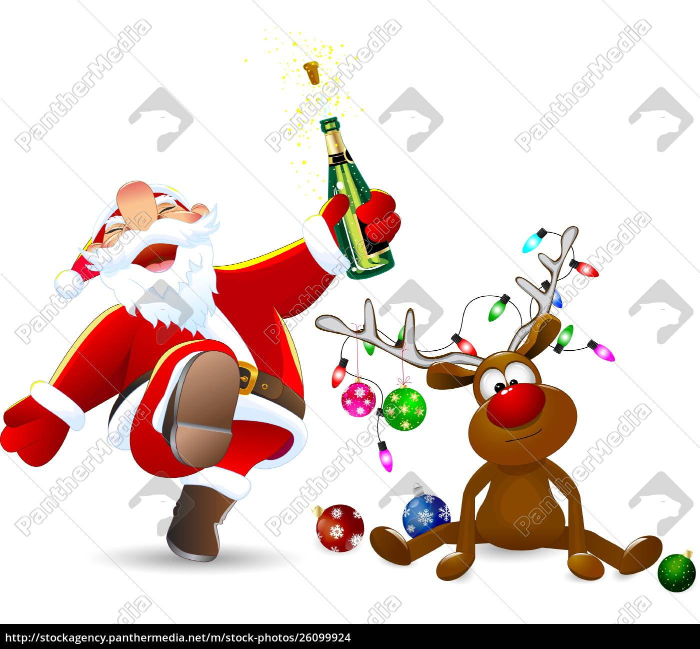 merry, santa, claus, and, a, deer - 26099924