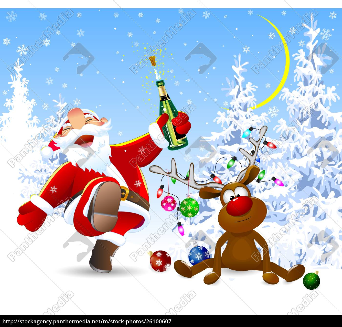 cheerful, santa, claus, and, a, deer - 26100607