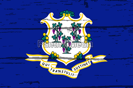 connecticut state flag on old timber