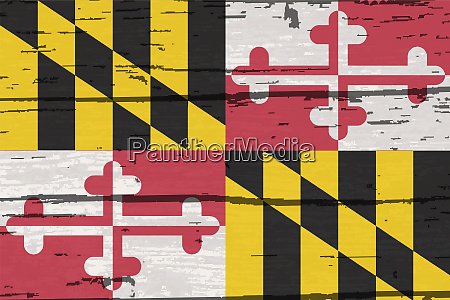 maryland state flag on old timber