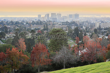 sunset views of oakland downtown and
