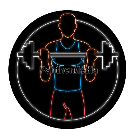 athlete lifting barbell oval neon sign