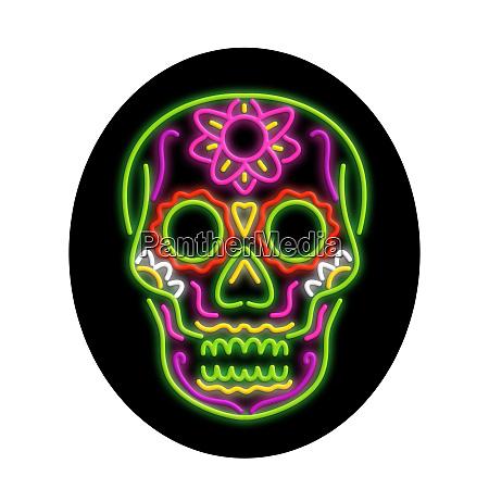 sugar skull oval neon sign