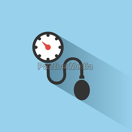 medical tonometer icon on blue background