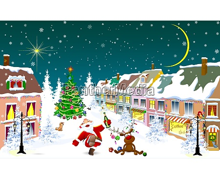 city in the winter santa claus