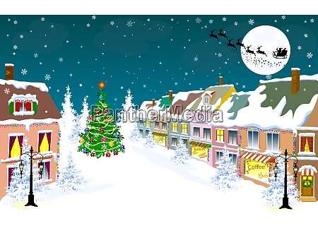city winter night santa on a