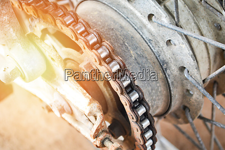 motorcycle chain close up of