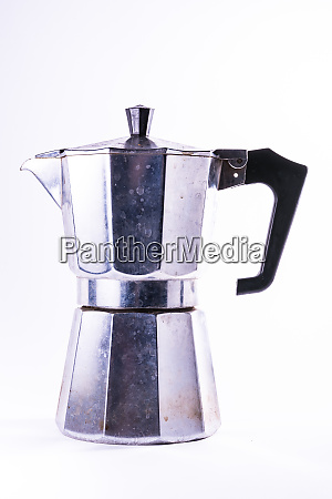 european metal coffee maker dirty household