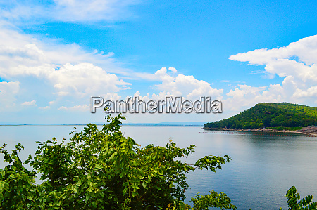landscape viewpoint lagoon with mountain and