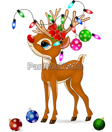 deer with christmas decorations deer and