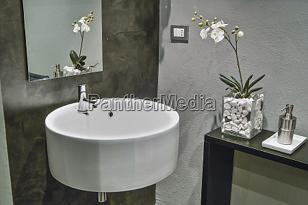 the washbasin suspended in the modern