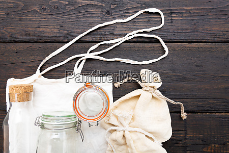 cotton bags and glass gar for