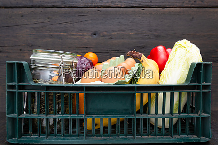 box of grocery food and from