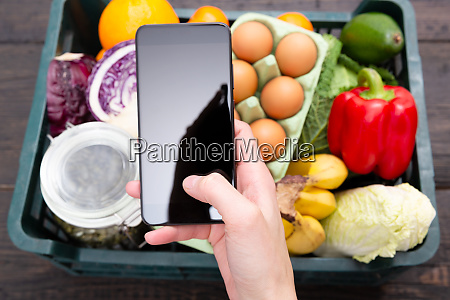 young woman shopping groceries on online