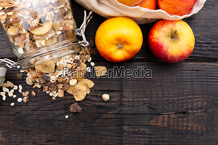 homemade granola in glass jar and
