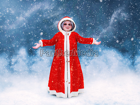 3d rendering of mrs claus standing