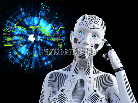3d rendering of female robot thinking